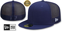 New Era 'MESH-BACK 59FIFTY-BLANK' Navy-Navy Fitted Hat