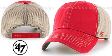 47 'BLANK DIRTY MESH SNAPBACK' Red-Tan Adjustable Hat