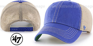 47 'BLANK DIRTY MESH SNAPBACK' Royal-Tan Adjustable Hat