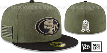 49ers 2018 SALUTE-TO-SERVICE Olive-Black Fitted Hat by New Era
