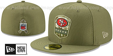 49ers 2019 SALUTE-TO-SERVICE Olive Fitted Hat by New Era