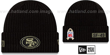 49ers 2020 SALUTE-TO-SERVICE Black Knit Beanie Hat by New Era
