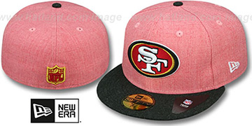 49ers 2T-HEATHER ACTION Red-Charcoal Fitted Hat by New Era