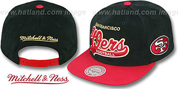 49ers '2T TAILSWEEPER SNAPBACK' Black-Red Hat by Mitchell & Ness