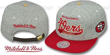 49ers '2T TAILSWEEPER STRAPBACK' Grey-Red Hat by Mitchell & Ness