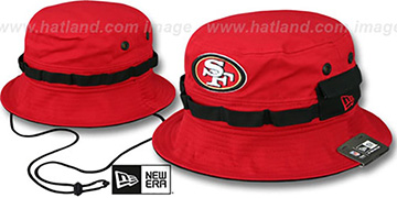 49ers ADVENTURE Red Bucket Hat by New Era