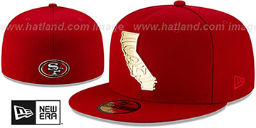 49ers ALL GOLD STATED METAL-BADGE Red Fitted Hat by New Era
