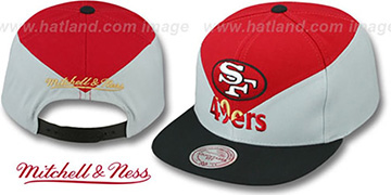 49ers AMPLIFY DIAMOND SNAPBACK Red-Grey Hat by Mitchell and Ness