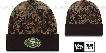 49ers ARMY CAMO PRINT-PLAY Knit Beanie Hat by New Era
