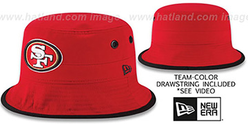 49ers BASIC-ACTION Red Bucket Hat by New Era