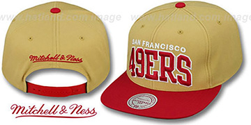 49ers 'BLOCK-ARCH SNAPBACK' Gold-Red Hat by Mitchell & Ness