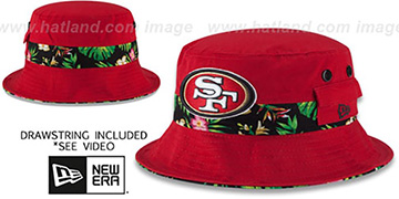 49ers BLOOM SUB-BANDED Red Bucket Hat by New Era