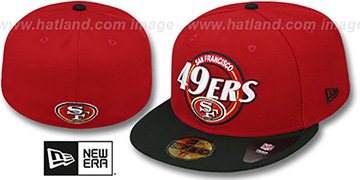49ers CIRCLE-CLOSER Red-Black Fitted Hat by New Era