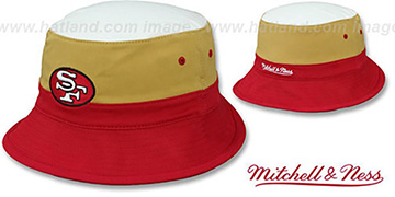 49ers COLOR-BLOCK BUCKET White-Gold-Red Hat by Mitchell and Ness