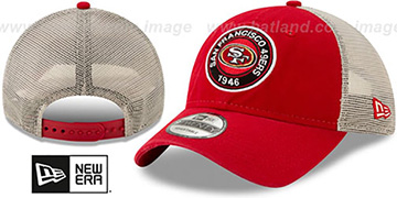 49ers ESTABLISHED CIRCLE TRUCKER SNAPBACK Hat by New Era