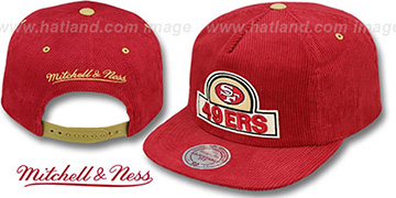49ers 'FELT-PATCH CORD SNAPBACK' Red Hat by Mitchell and Ness
