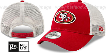 49ers FRAYED LOGO TRUCKER SNAPBACK Hat by New Era