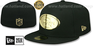 49ers GOLD METAL-BADGE Black Fitted Hat by New Era