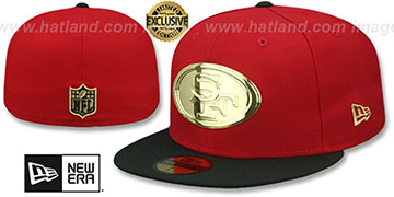 49ers GOLD METAL-BADGE Red-Black Fitted Hat by New Era