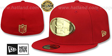 49ers GOLD METAL-BADGE Red Fitted Hat by New Era