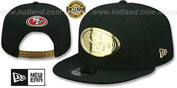 49ers GOLD METAL-BADGE SNAPBACK Black Hat by New Era