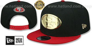 49ers GOLD METAL-BADGE SNAPBACK Black-Red Hat by New Era