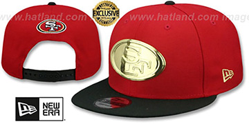 49ers GOLD METAL-BADGE SNAPBACK Red-Black Hat by New Era