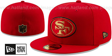 49ers GOLD METALLIC STOPPER Red Fitted Hat by New Era