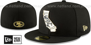 49ers 'GOLD STATED METAL-BADGE' Black Fitted Hat by New Era