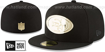 49ers 'GOLDEN-BADGE' Black Fitted Hat by New Era