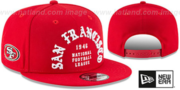 49ers 'GOTHIC-ARCH SNAPBACK' Red Hat by New Era