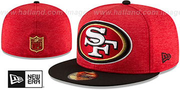 49ers 'HEATHER-HUGE' Red-Black Fitted Hat by New Era