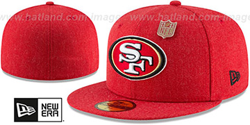 49ers HEATHERED-PIN Red Fitted Hat by New Era