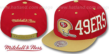 49ers 'HELMET-WORDWRAP SNAPBACK' Red-Gold Hat by Mitchell and Ness