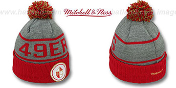 49ers HIGH-5 CIRCLE BEANIE Grey-Red by Mitchell and Ness