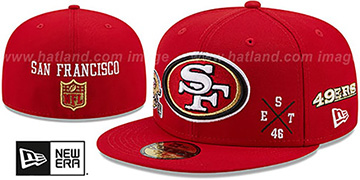 49ers MULTI-AROUND Red Fitted Hat by New Era