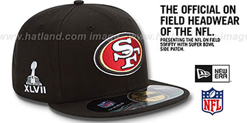 49ers 'NFL SUPER BOWL XLVII ONFIELD' Black Fitted Hat by New Era