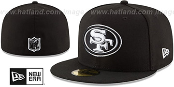 49ers 'NFL TEAM-BASIC' Black-White Fitted Hat by New Era