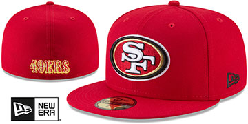 49ers NFL TEAM-BASIC Red Fitted Hat by New Era