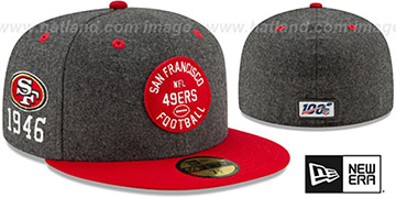 49ers ONFIELD SIDELINE HOME Charcoal-Red Fitted Hat by New Era