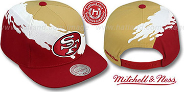 49ers 'PAINTBRUSH SNAPBACK' Gold-White-Burgundy Hat by Mitchell & Ness