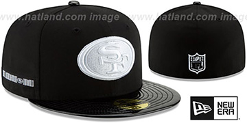 49ers 'RETRO-HOOK' Black-White Fitted Hat by New Era
