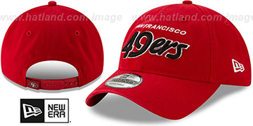 49ers RETRO-SCRIPT SNAPBACK Red Hat by New Era