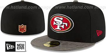 49ers RUSTIC-VIZE Black-Grey Fitted Hat by New Era