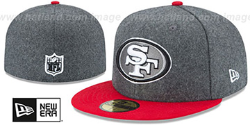 49ers SHADER MELTON Grey-Red Fitted Hat by New Era