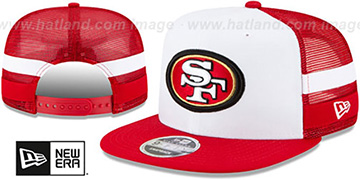 49ers SIDE-STRIPED TRUCKER SNAPBACK Hat by New Era