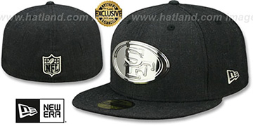 49ers SILVER METAL-BADGE Heather Black Fitted Hat by New Era