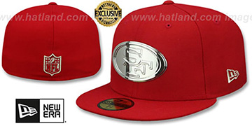 49ers SILVER METAL-BADGE Red Fitted Hat by New Era