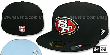 49ers SKY-BOTTOM Black Fitted Hat by New Era