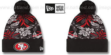 49ers 'SNOW-TROPICS' Black Knit Beanie Hat by New Era